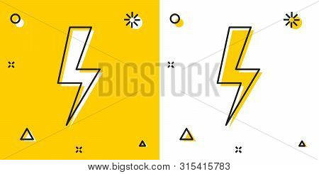Black Lightning Bolt Icon Isolated On Yellow And White Background. Flash Icon. Charge Flash Icon. Th