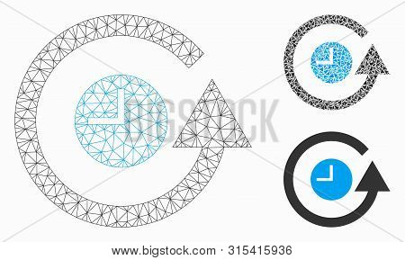 Mesh Restore Clock Model With Triangle Mosaic Icon. Wire Frame Polygonal Mesh Of Restore Clock. Vect