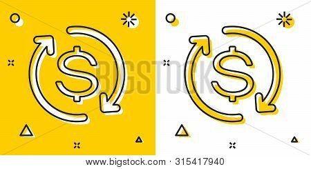 Black Return Of Investment Icon Isolated On Yellow And White Background. Money Convert Icon. Refund
