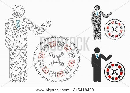 Mesh Roulette Croupier Model With Triangle Mosaic Icon. Wire Carcass Triangular Mesh Of Roulette Cro