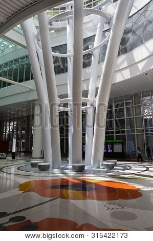 San Francisco, California - August 04, 2019: Salesforce Transit Center Lobby Interior.