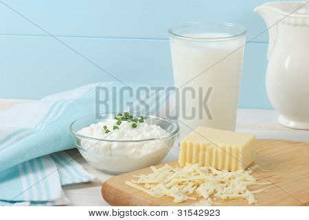 Dairy Products Include Milk, Cottage Cheese And Swiss Cheese