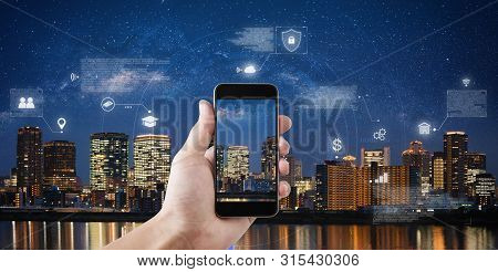 Online Data Security Connection By Mobile Smart Phone And Smart Technology. Hand Holding Mobile Phon