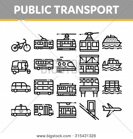 Collection Public Transport Vector Line Icons Set. Trolleybus And Bus, Tramway And Train, Cable Way