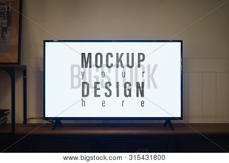 Tv With Blank Screen And Shelf Cabinet At Night In Contemporaly Living Room, Mockup Blank Screen Led