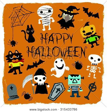 Halloween Characters (jack-o-lantern, Pumpkin, Mommy, Ghost, Bat, Black Cat, Skeleton, Monster, Coff