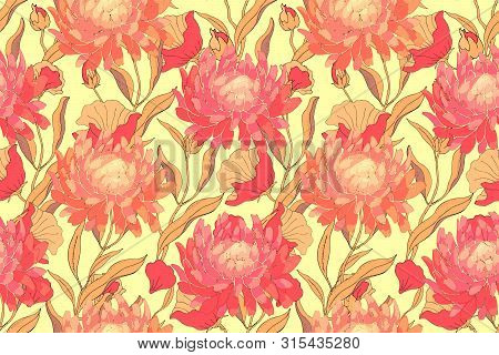 Autumn Floral Vector Seamless Pattern. Red Asters With Branches, Leaves Isolated On Yellow Backgroun