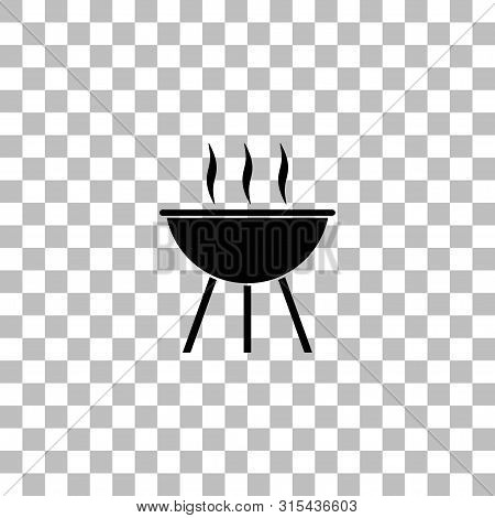 Roaster Bbq. Black Flat Icon On A Transparent Background. Pictogram For Your Project