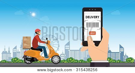 Delivery Man Ride Bike Get Order.hand Holding Mobile Smart Phone Open App.online Delivery Service.fa