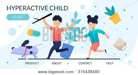 Hyperactive Children Problem Behavior Landing Page. Cartoon Kids Running After Dog. Houseplants In M
