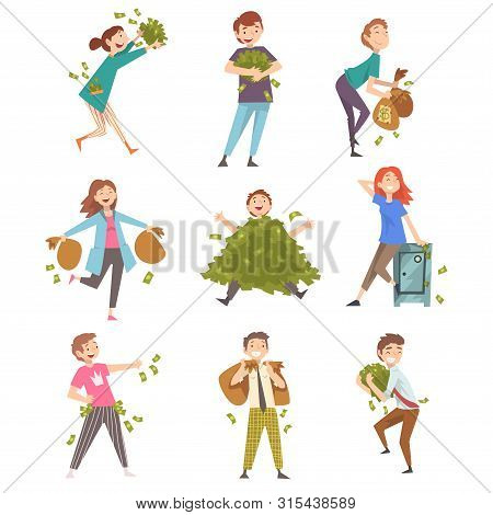 Lucky Successful Rich People Set, Happy Wealthy Men And Woman With Lot Of Money Vector Illustration