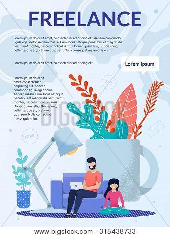 Freelance Job, Remote Work At Home Office Brochure. Advertising Flyer, Booklet, Leaflet Design. Cart