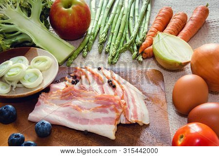 Healthy Nutrition Vegetable Food and Kitchen Cuisine Concept, Raw Ingredients Food and Mix Fruits for Cooking on The Table., Natural Nutrition for Heath, Preparation to Cooking.