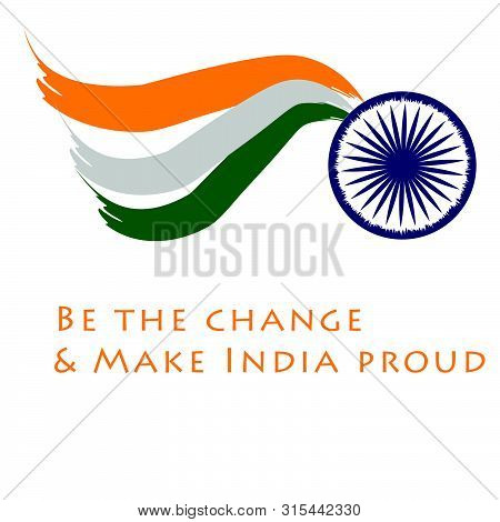 Happy Independence Day, Indian Flag, Typography For Print Or Use As Poster, Card, Flyer Or T Shirt