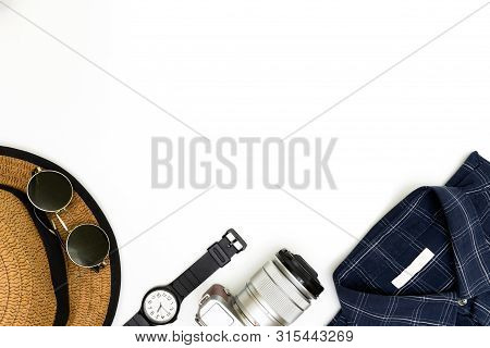 Men's Clothes With Brown Shoes, Blue Shirt And Sunglasses On White Background, Men's Casual Outfits