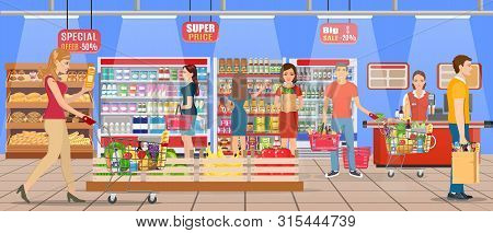 People Shopping At Supermarket And Buying Products, Freezer, Shelves And Checkout Operator At Work,