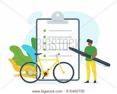 Bicycle Rent Contract Vector Illustration. African American Guy Holding Huge Pen Cartoon Character.