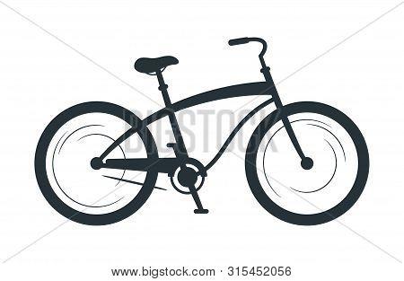 Cruiser Bicycle Silhouette Vector Illustration. Eco Friendly Vehicle, Sport Bike Black Monochrome Ic