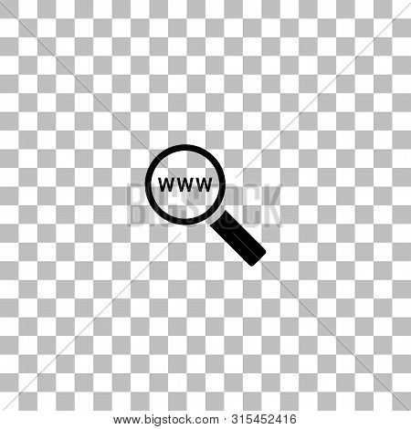 Website Search. Black Flat Icon On A Transparent Background. Pictogram For Your Project