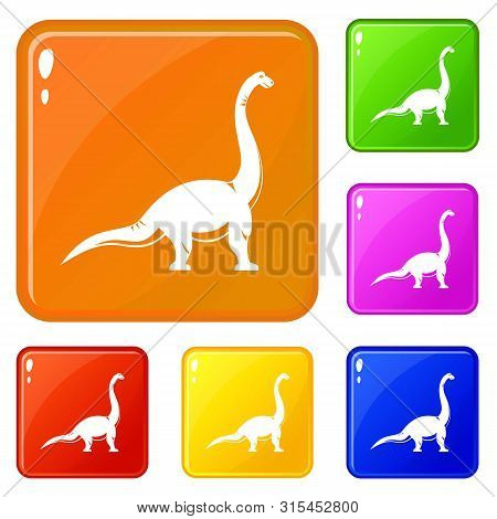 Brachiosaurus Dinosaur Icons Set Collection Vector 6 Color Isolated On White Background