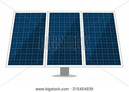 Solar Panel Vector Design Of Sun Energy Modules, Eco Power Batteries With Photovoltaic Solar Cells.