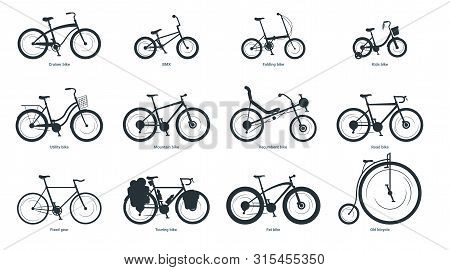 Bicycle Types Silhouette Illustration Set. Various Bikes With Names Monochrome Black Icons Pack. Old