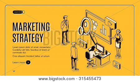 Marketing Strategy Isometric Landing Page, Financial Analytic Company Working Process In Office, Bus