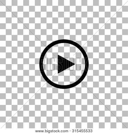 Play Button. Black Flat Icon On A Transparent Background. Pictogram For Your Project