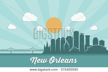 New Orleans Skyline - Louisiana - Vector Illustration