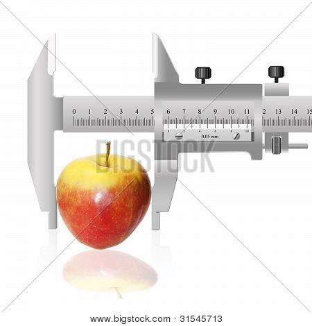 Red apple and calliper