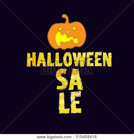 Halloween Sale Text Made As Bogey With Pumpkin Head On Black Background