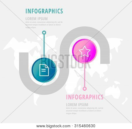 Vector Infographic Flat Template Circles For Two Paper Label, Diagram, Graph, Presentation. Business