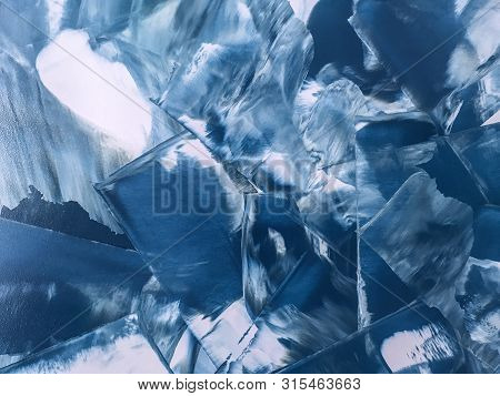 Abstract Art Background Navy Blue And White Colors. Multicolor Oil Painting On Canvas. Fragment Of D