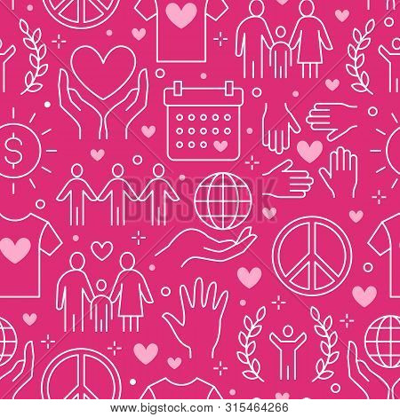 Charity Vector Seamless Pattern With Flat Line Icons. Donation, Nonprofit Organization, Ngo, Giving