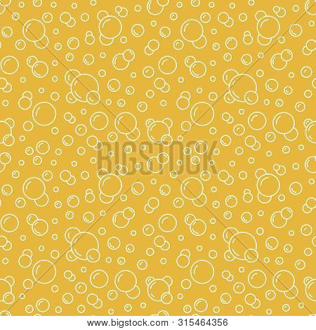 Bubbles Vector Seamless Pattern With Flat Line Icons. Yellow White Color Beer Texture. Fizzy Water B