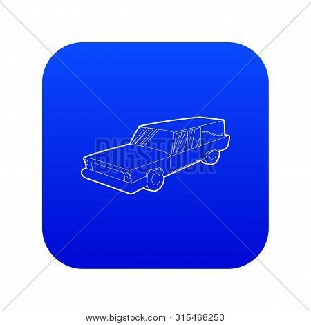 Hearse Icon Blue Vector Isolated On White Background