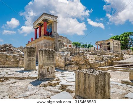 Knossos Palace Ruins At Crete Island, Greece. Famous Minoan Palace Of Knossos.