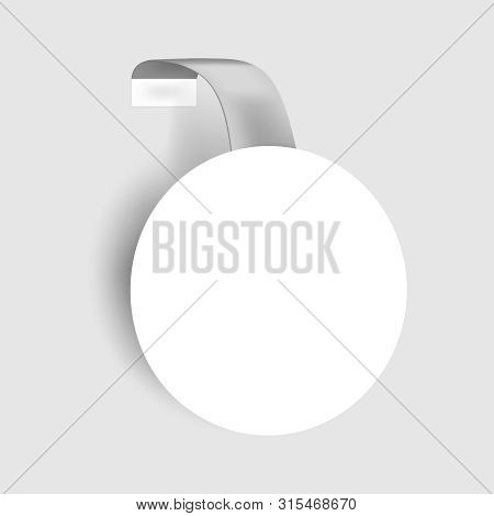 Round Shelf Wobbler, Vector Mockup. White Blank Circular Dangler, Template