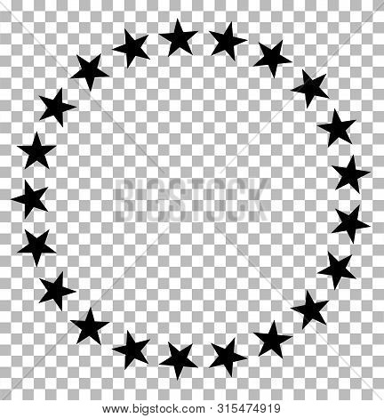 Stars In Circle Icon On Transparent. Stars In Circle Design For Diagram, Infographics, Chart, Presen