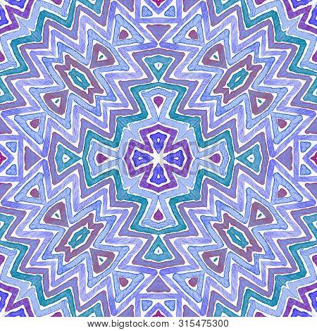 Blue Geometric Watercolor. Cute Seamless Pattern. Hand Drawn Stripes. Brush Texture. Quaint Chevron