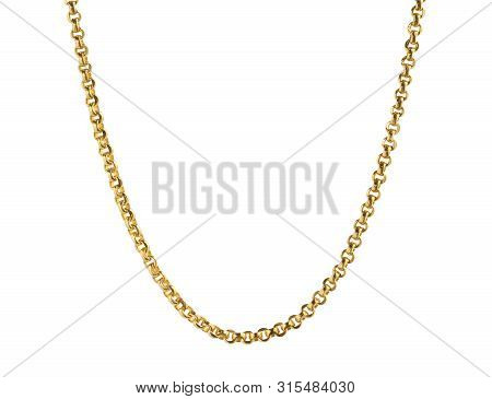 Gold Necklace (with Clipping Path) Isolated On White Background