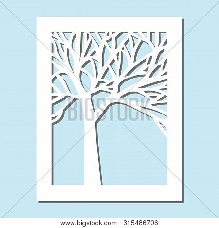 Template For Laser Cutting And Plotter. Flowers, Leaves For Decoration. Vector Illustration, Plotter