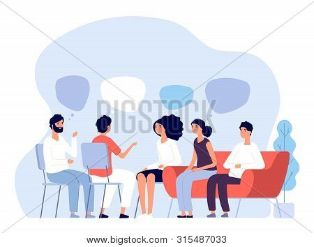 Addiction Treatment Concept. Group Therapy, People Counseling With Psychologist, Persons In Psychoth