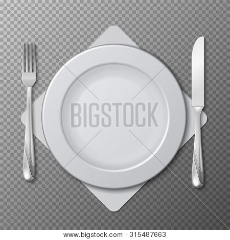 Realistic Plate, Cutlery Vector. Table Setting With White Plate, Fork And Knife Isolated On Transpar