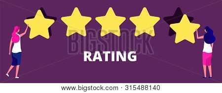 Girls Giving Five Star Rank. Best Work Quality, Feedback Or Rating Vector Concept. Feedback Experien