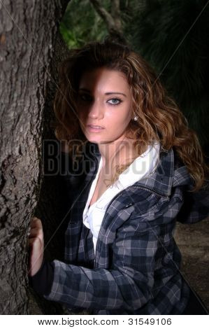 in a gray checked jacket 5