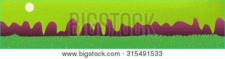 Lime Sky, And Mountains Landscape. Wonderful Landscape Texture Background. Colorful Horizontal Patte