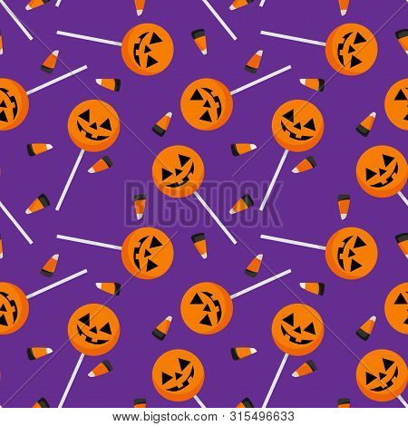 Halloween Seamless Pattern With Halloween Candy And Candy Corn.