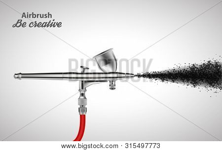 Close Up Of A Airbrush Paint Sprayer Isolated On White Background. Vector Illustration