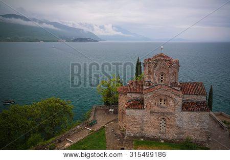 aerial Exterior view to St. John the Theologian Church in Ohrid, North Macedonia poster